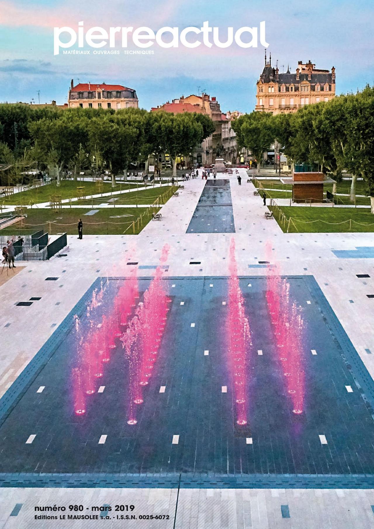 34 béziers place jean jaures statue dallage bande bordure comblanchien setp bassin jet d'eau